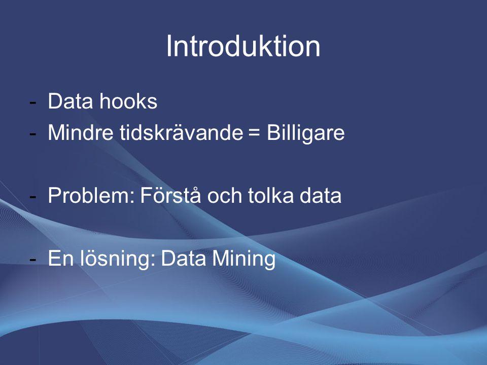 Introduktion -Data hooks -Mindre tidskrävande = Billigare -Problem: Förstå och tolka data -En lösning: Data Mining