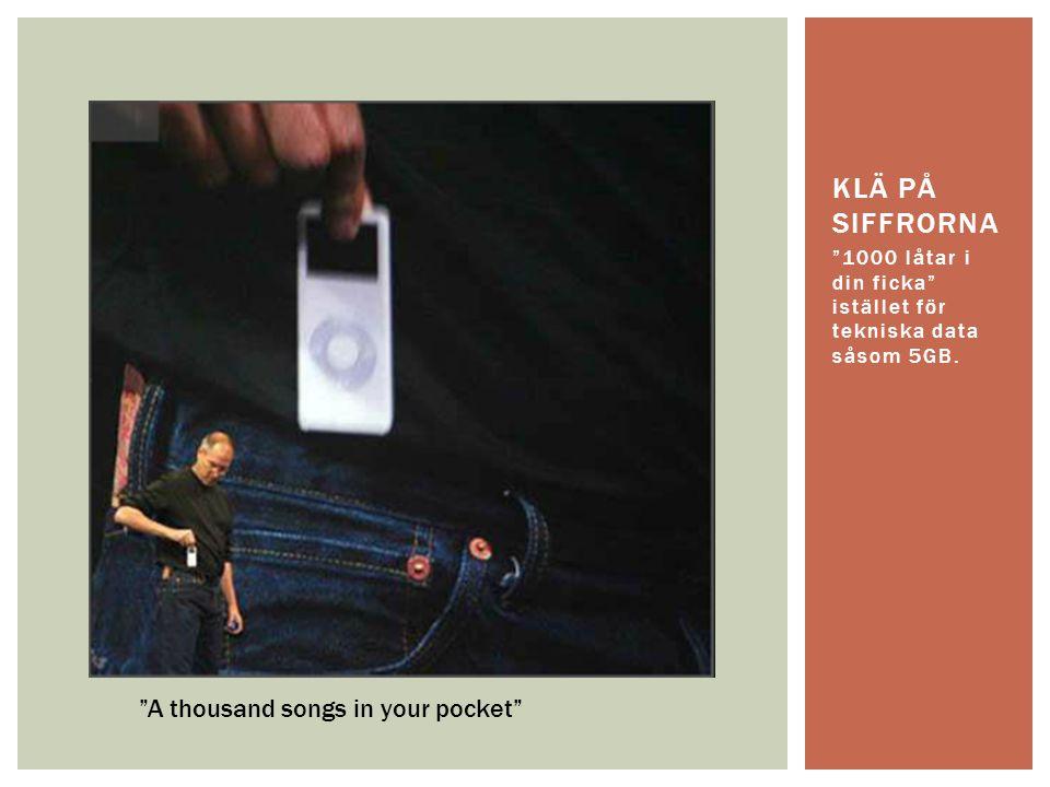"""""""1000 låtar i din ficka"""" istället för tekniska data såsom 5GB. KLÄ PÅ SIFFRORNA """"A thousand songs in your pocket"""""""