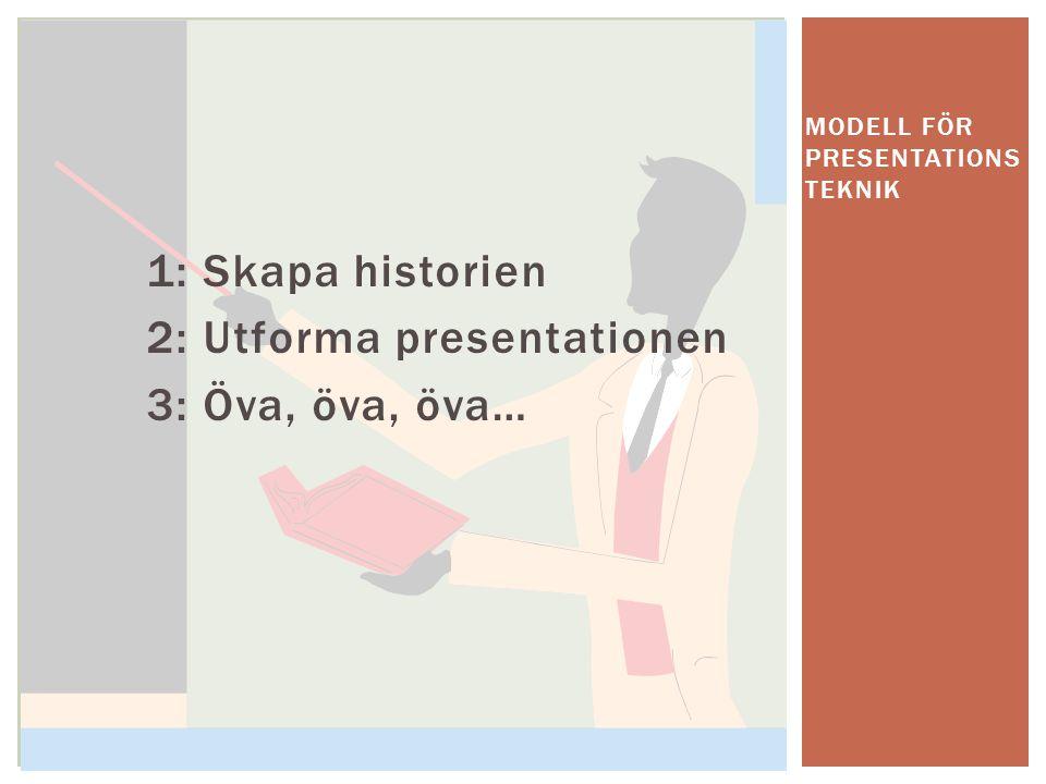 1: Skapa historien 2: Utforma presentationen 3: Öva, öva, öva… MODELL FÖR PRESENTATIONS TEKNIK