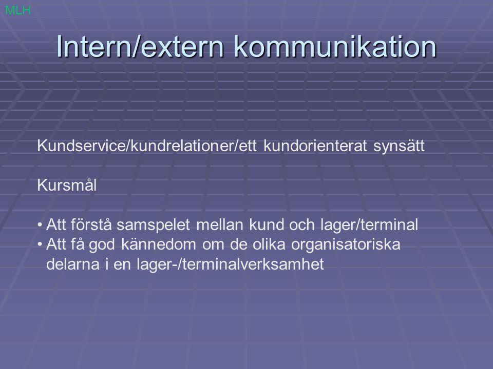 Intern/extern kommunikation Kundservice/kundrelationer/ett kundorienterat synsätt Kursmål Att förstå samspelet mellan kund och lager/terminal Att få g