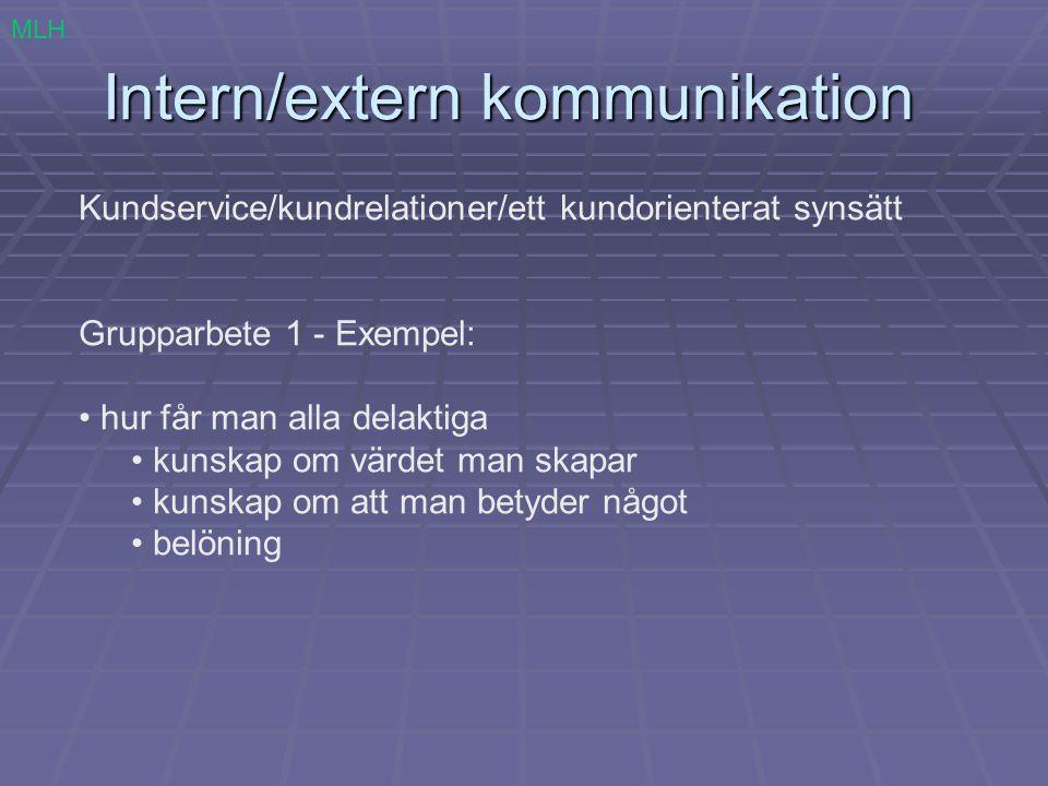 Intern/extern kommunikation Kundservice/kundrelationer/ett kundorienterat synsätt Grupparbete 1 - Exempel: hur får man alla delaktiga kunskap om värde