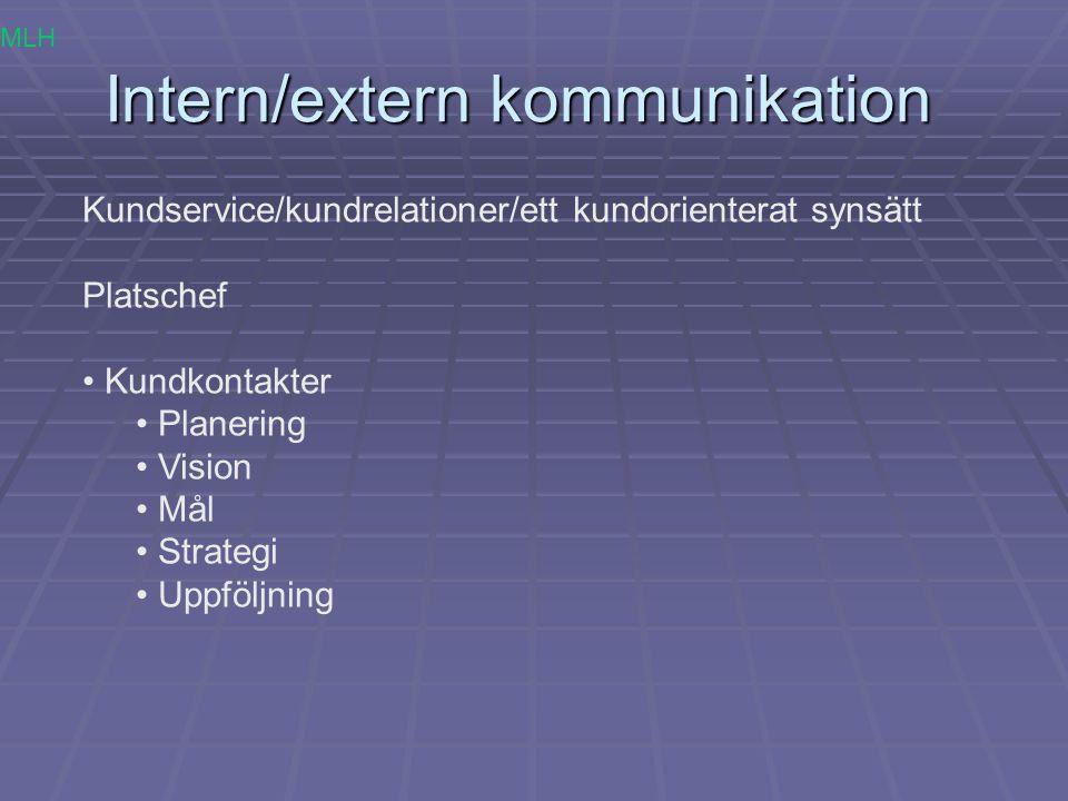 Intern/extern kommunikation Kundservice/kundrelationer/ett kundorienterat synsätt Platschef Kundkontakter Planering Vision Mål Strategi Uppföljning ML