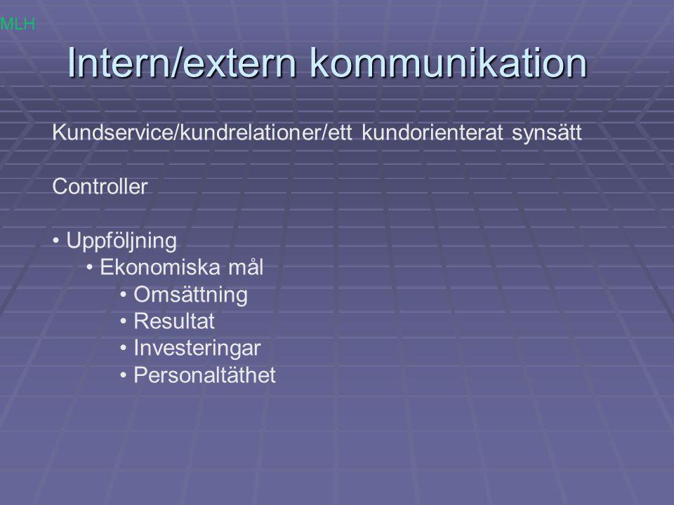 Intern/extern kommunikation Kundservice/kundrelationer/ett kundorienterat synsätt Controller Uppföljning Ekonomiska mål Omsättning Resultat Investerin