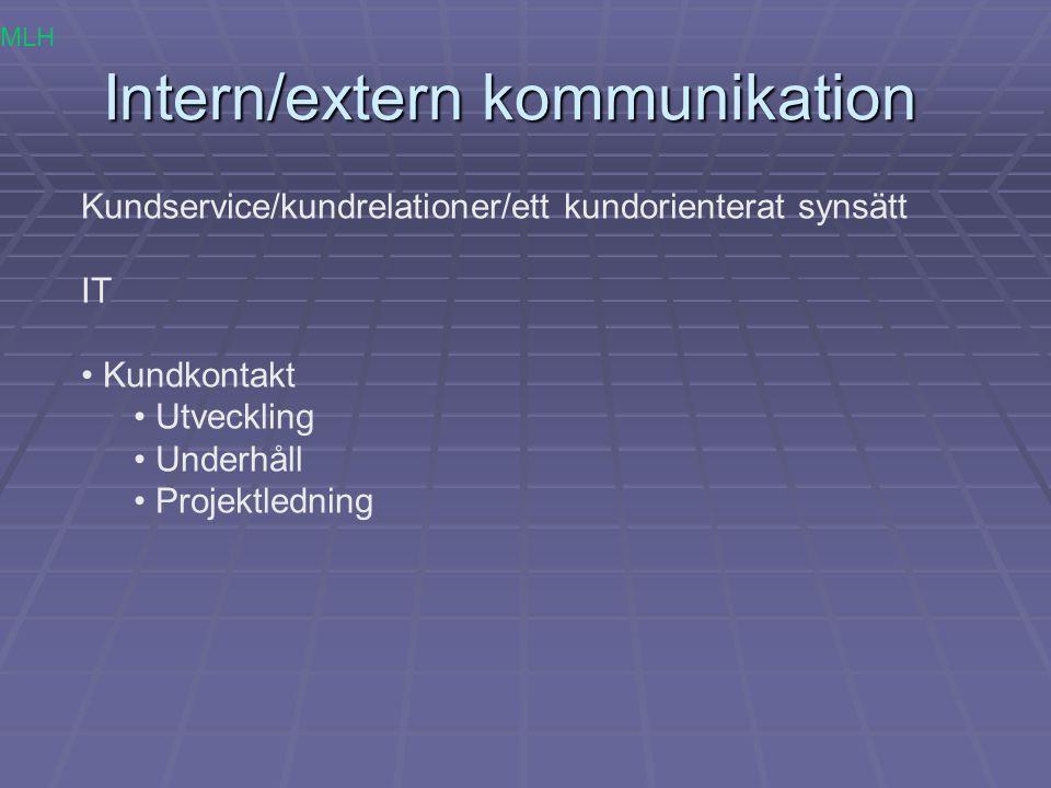 Intern/extern kommunikation Kundservice/kundrelationer/ett kundorienterat synsätt IT Kundkontakt Utveckling Underhåll Projektledning MLH