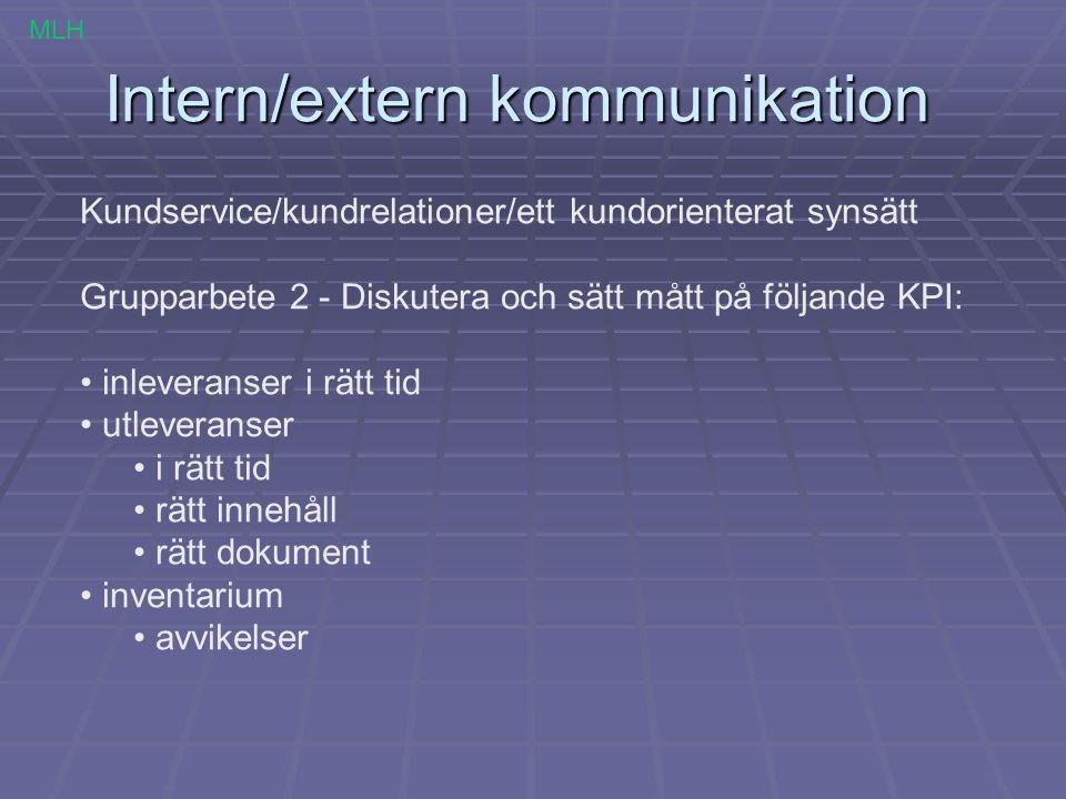 Intern/extern kommunikation Kundservice/kundrelationer/ett kundorienterat synsätt Grupparbete 2 - Diskutera och sätt mått på följande KPI: inleveranse