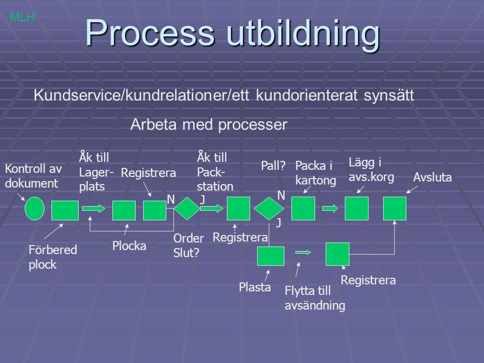 Process utbildning Kundservice/kundrelationer/ett kundorienterat synsätt Arbeta med processer Kontroll av dokument Förbered plock Åk till Lager- plats