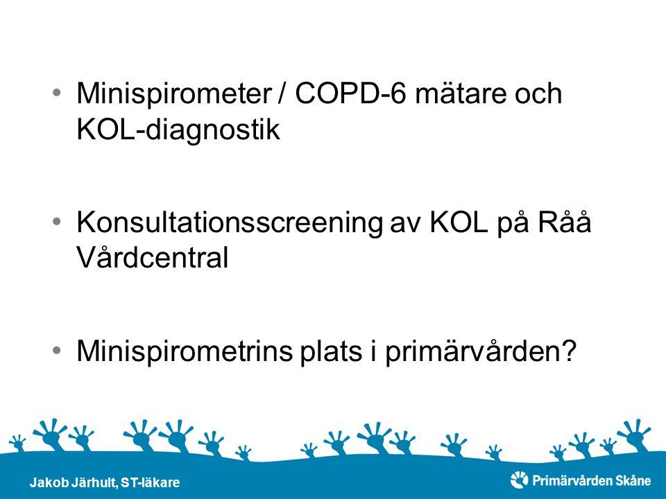 Minispirometer / COPD-6 mätare och KOL-diagnostik Konsultationsscreening av KOL på Råå Vårdcentral Minispirometrins plats i primärvården? Jakob Järhul