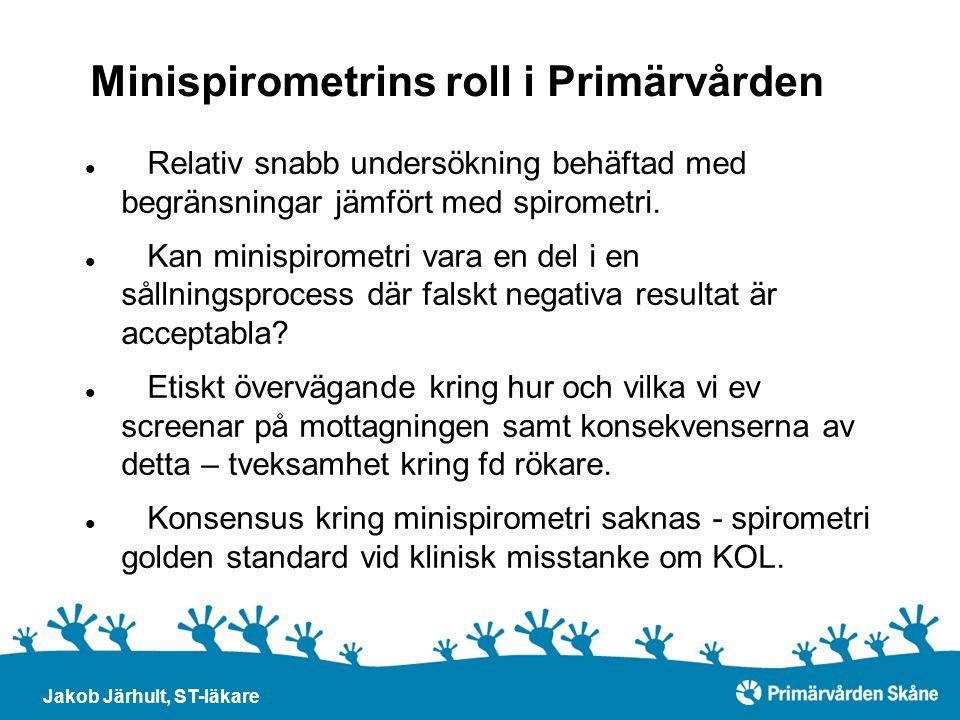 Minispirometrins roll i Primärvården Jakob Järhult, ST-läkare Relativ snabb undersökning behäftad med begränsningar jämfört med spirometri. Kan minisp