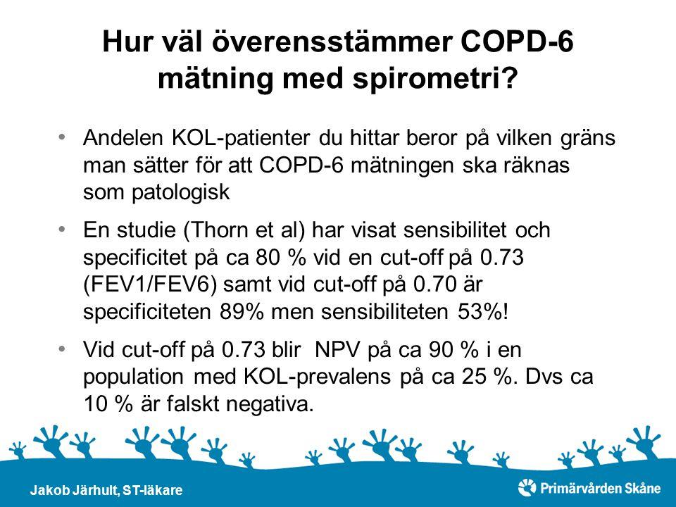 Hur väl överensstämmer COPD-6 mätning med spirometri? Andelen KOL-patienter du hittar beror på vilken gräns man sätter för att COPD-6 mätningen ska rä