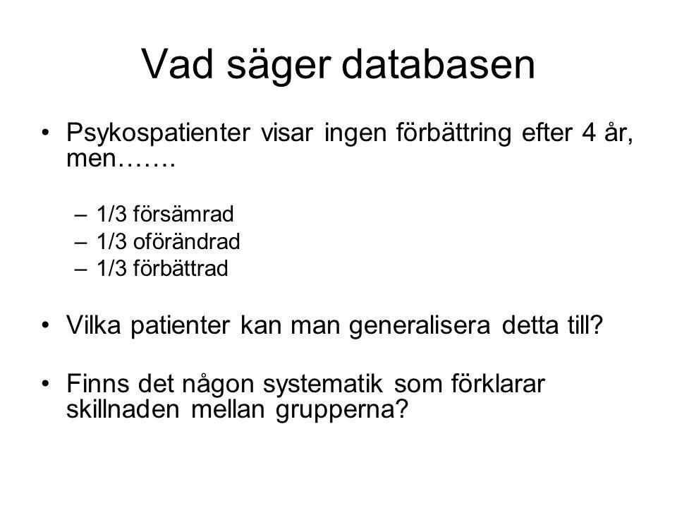 Vad säger databasen Psykospatienter visar ingen förbättring efter 4 år, men…….