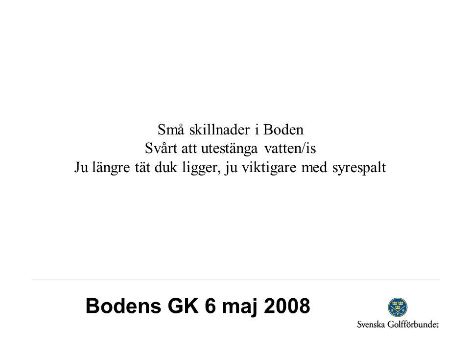Bodens GK 6 maj 2008 Små skillnader i Boden Svårt att utestänga vatten/is Ju längre tät duk ligger, ju viktigare med syrespalt