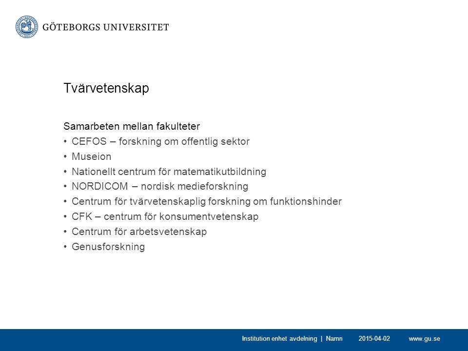 www.gu.se2015-04-02Institution enhet avdelning | Namn Tvärvetenskap Samarbeten mellan fakulteter CEFOS – forskning om offentlig sektor Museion Natione