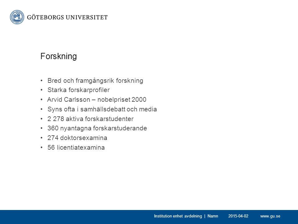 www.gu.se Forskning Bred och framgångsrik forskning Starka forskarprofiler Arvid Carlsson – nobelpriset 2000 Syns ofta i samhällsdebatt och media 2 27