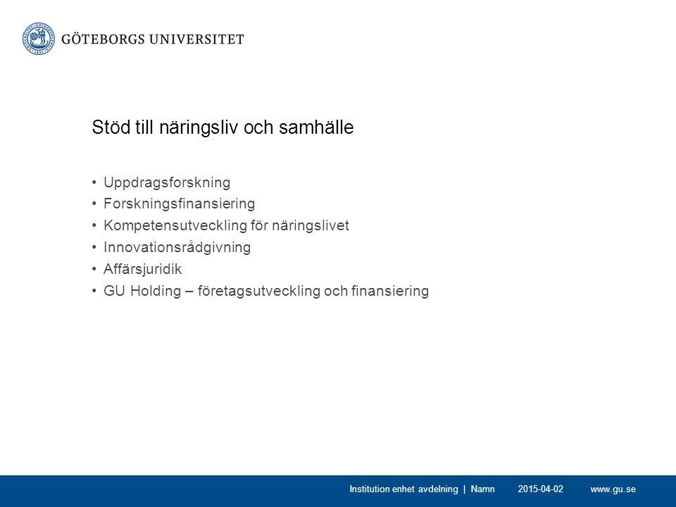 www.gu.se2015-04-02Institution enhet avdelning | Namn Stöd till näringsliv och samhälle Uppdragsforskning Forskningsfinansiering Kompetensutveckling för näringslivet Innovationsrådgivning Affärsjuridik GU Holding – företagsutveckling och finansiering