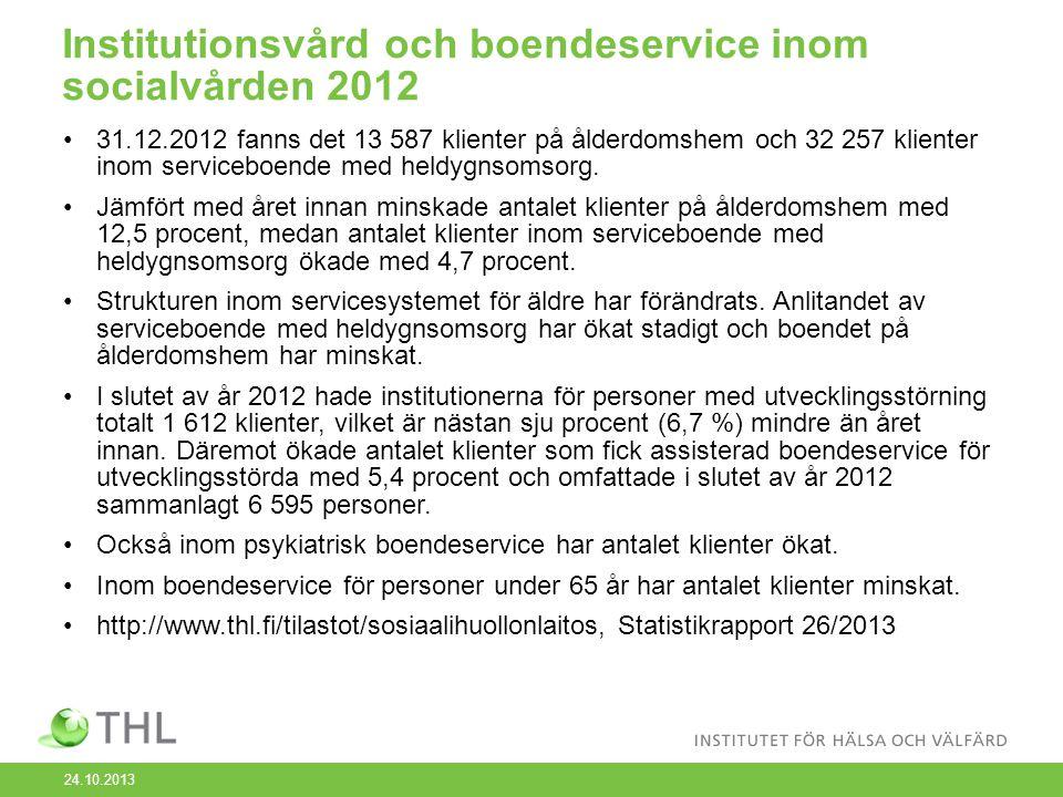 Institutionsvård och boendeservice inom socialvården 2012 31.12.2012 fanns det 13 587 klienter på ålderdomshem och 32 257 klienter inom serviceboende med heldygnsomsorg.