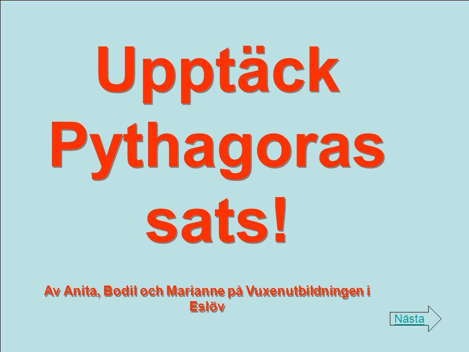 Upptäck Pythagoras sats! Nästa Av Anita, Bodil och Marianne på Vuxenutbildningen i Eslöv
