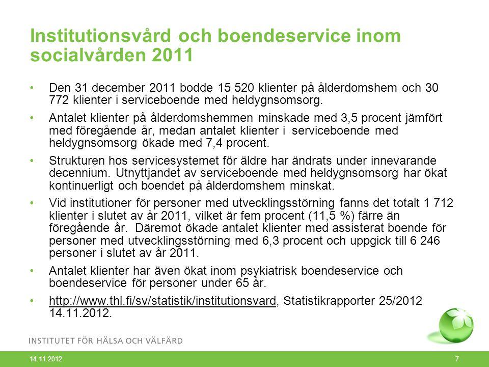 Institutionsvård och boendeservice inom socialvården 2011 Den 31 december 2011 bodde 15 520 klienter på ålderdomshem och 30 772 klienter i serviceboende med heldygnsomsorg.