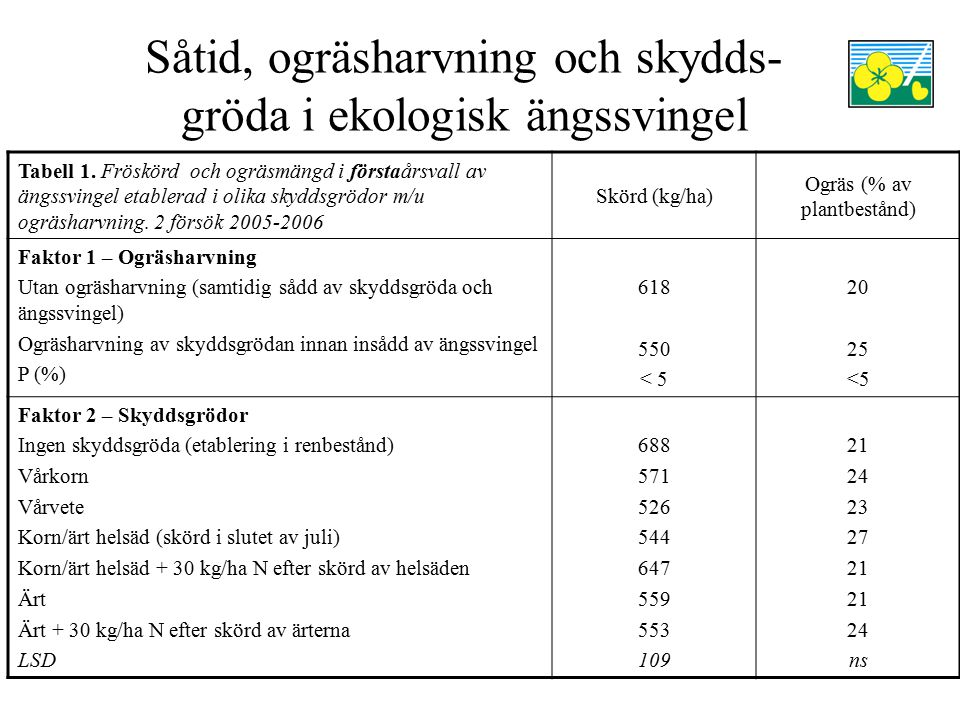 Såtid, ogräsharvning och skydds- gröda i ekologisk ängssvingel Tabell 1. Fröskörd och ogräsmängd i förstaårsvall av ängssvingel etablerad i olika skyd