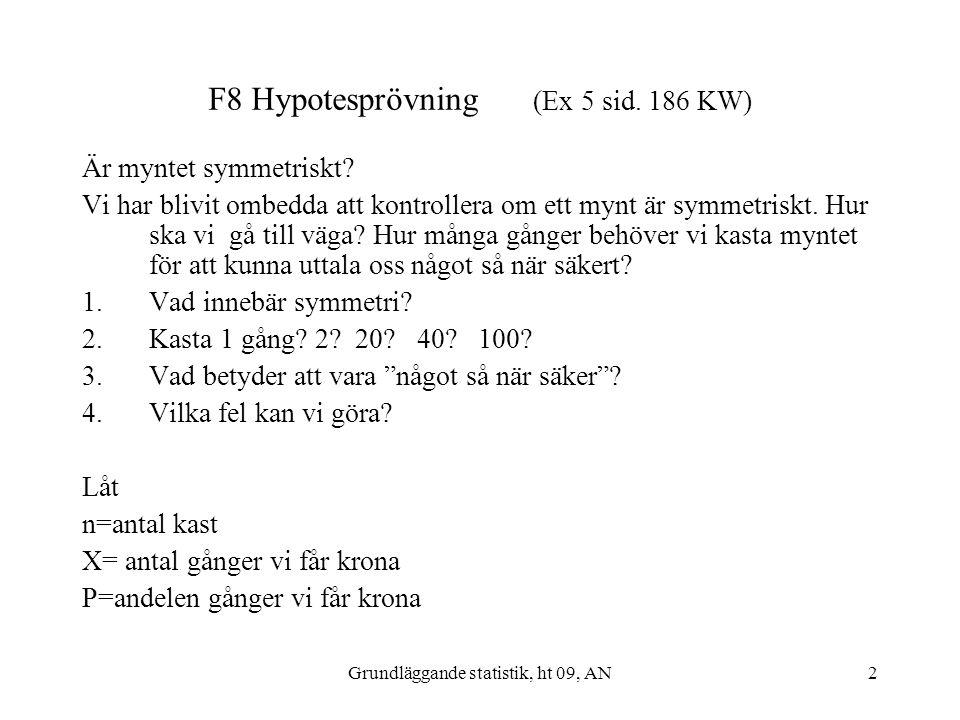 Grundläggande statistik, ht 09, AN2 F8 Hypotesprövning (Ex 5 sid. 186 KW) Är myntet symmetriskt? Vi har blivit ombedda att kontrollera om ett mynt är