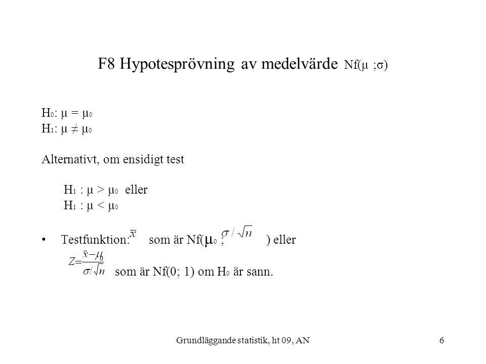 Grundläggande statistik, ht 09, AN6 F8 Hypotesprövning av medelvärde Nf(µ ;σ) H 0 : µ = µ 0 H 1 : µ ≠ µ 0 Alternativt, om ensidigt test H 1 : µ > µ 0