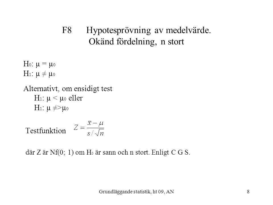 Grundläggande statistik, ht 09, AN8 F8 Hypotesprövning av medelvärde. Okänd fördelning, n stort H 0 : µ = µ 0 H 1 : µ ≠ µ 0 Alternativt, om ensidigt t
