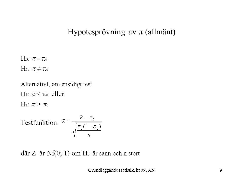 Grundläggande statistik, ht 09, AN9 Hypotesprövning av  (allmänt) H 0 :  =  0 H 1 :  ≠  0 Alternativt, om ensidigt test H 1 :  <  0 eller H 1 :