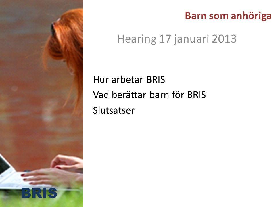 Barn som anhöriga Hearing 17 januari 2013 Hur arbetar BRIS Vad berättar barn för BRIS Slutsatser BRIS
