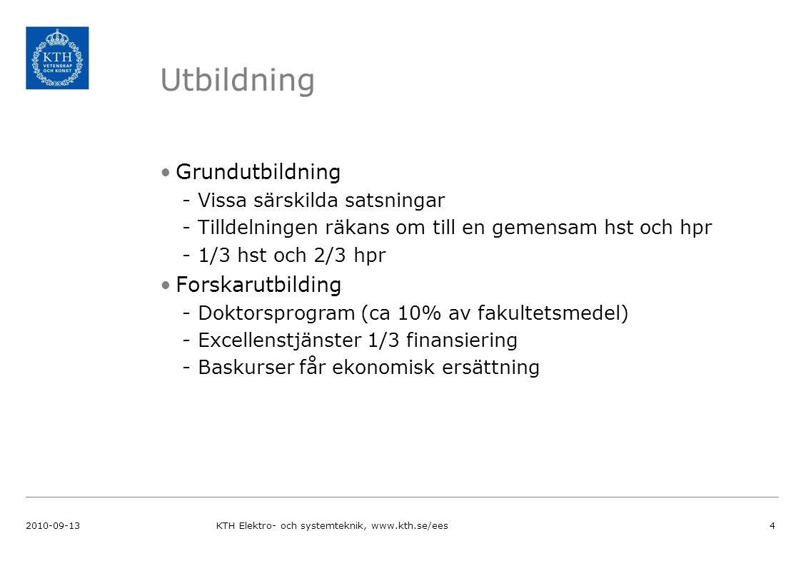 Utbildning Grundutbildning -Vissa särskilda satsningar -Tilldelningen räkans om till en gemensam hst och hpr -1/3 hst och 2/3 hpr Forskarutbilding -Doktorsprogram (ca 10% av fakultetsmedel) -Excellenstjänster 1/3 finansiering -Baskurser får ekonomisk ersättning 2010-09-13KTH Elektro- och systemteknik, www.kth.se/ees4