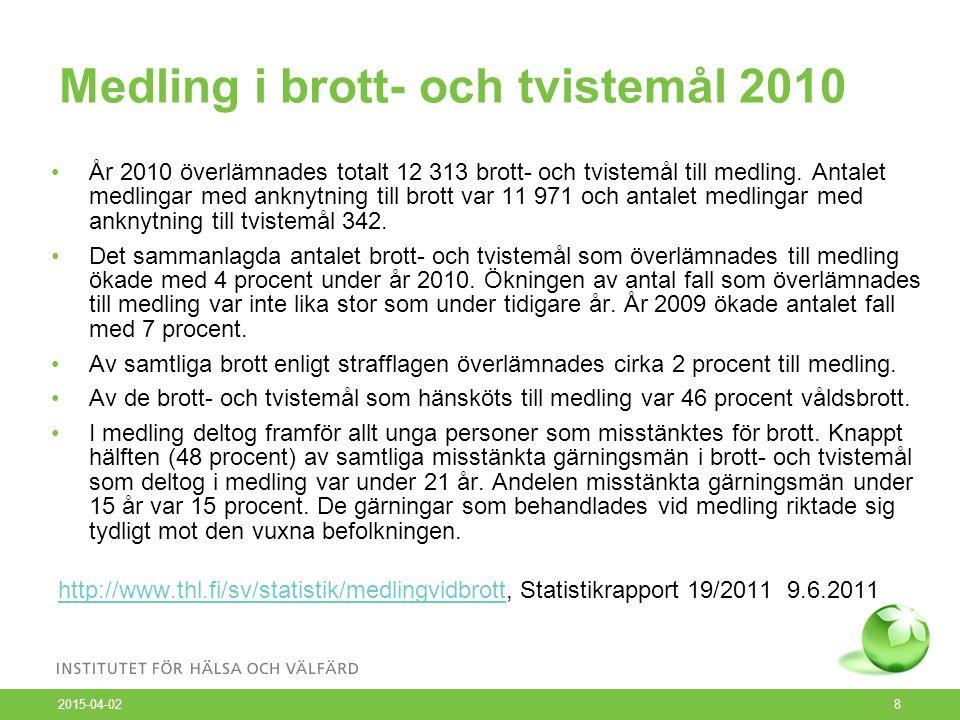 Medling i brott- och tvistemål 2010 2015-04-02 8 År 2010 överlämnades totalt 12 313 brott- och tvistemål till medling.