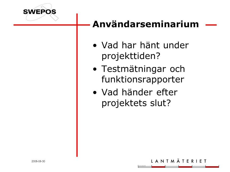 2005-08-30 Användarseminarium Vad har hänt under projekttiden.