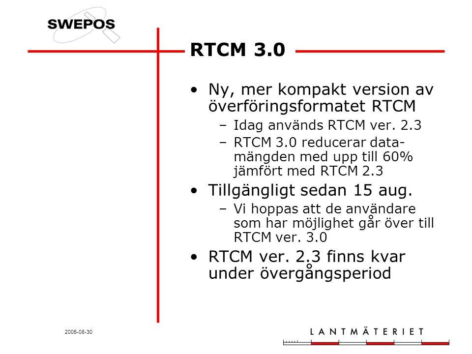 2005-08-30 RTCM 3.0 Ny, mer kompakt version av överföringsformatet RTCM –Idag används RTCM ver.