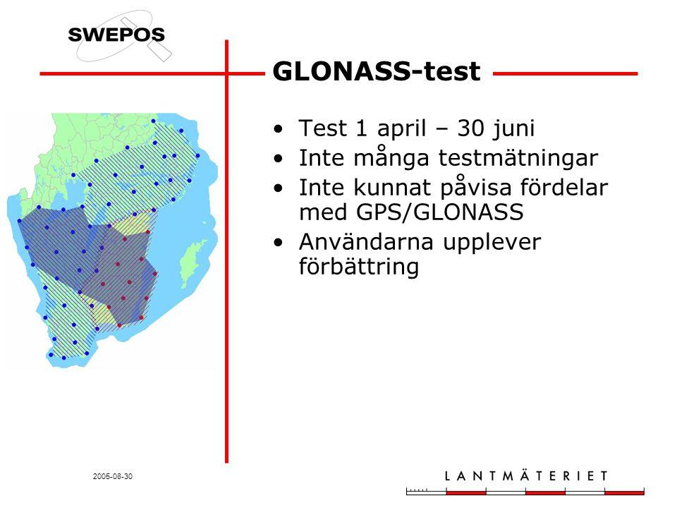 2005-08-30 GLONASS-test Test 1 april – 30 juni Inte många testmätningar Inte kunnat påvisa fördelar med GPS/GLONASS Användarna upplever förbättring
