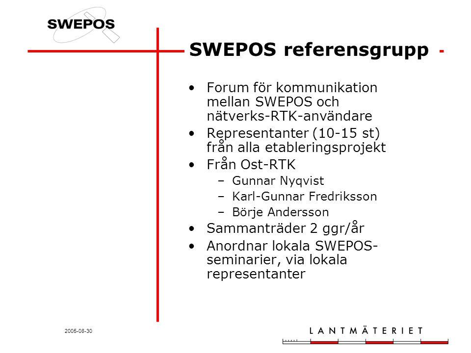 2005-08-30 Forum för kommunikation mellan SWEPOS och nätverks-RTK-användare Representanter (10-15 st) från alla etableringsprojekt Från Ost-RTK –Gunnar Nyqvist –Karl-Gunnar Fredriksson –Börje Andersson Sammanträder 2 ggr/år Anordnar lokala SWEPOS- seminarier, via lokala representanter SWEPOS referensgrupp