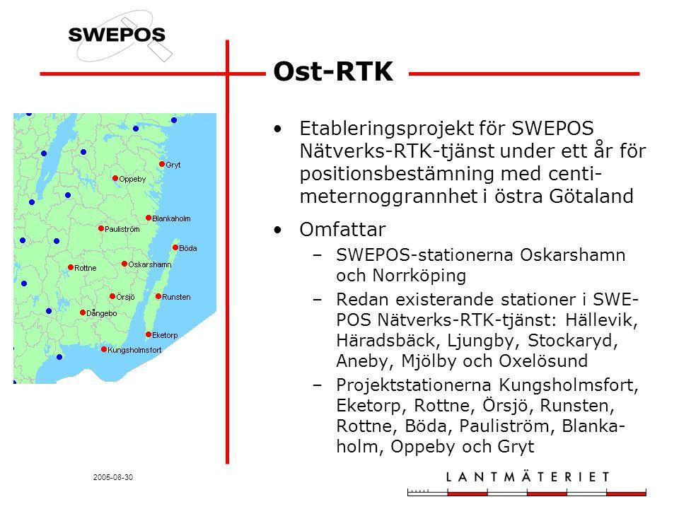 2005-08-30 Ost-RTK Etableringsprojekt för SWEPOS Nätverks-RTK-tjänst under ett år för positionsbestämning med centi- meternoggrannhet i östra Götaland Omfattar –SWEPOS-stationerna Oskarshamn och Norrköping –Redan existerande stationer i SWE- POS Nätverks-RTK-tjänst: Hällevik, Häradsbäck, Ljungby, Stockaryd, Aneby, Mjölby och Oxelösund –Projektstationerna Kungsholmsfort, Eketorp, Rottne, Örsjö, Runsten, Rottne, Böda, Pauliström, Blanka- holm, Oppeby och Gryt