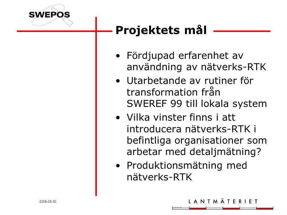 2005-08-30 Projektets mål Fördjupad erfarenhet av användning av nätverks-RTK Utarbetande av rutiner för transformation från SWEREF 99 till lokala system Vilka vinster finns i att introducera nätverks-RTK i befintliga organisationer som arbetar med detaljmätning.