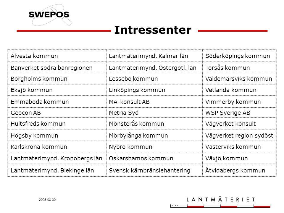2005-08-30 Intressenter Alvesta kommunLantmäterimynd. Kalmar länSöderköpings kommun Banverket södra banregionenLantmäterimynd. Östergötl. länTorsås ko