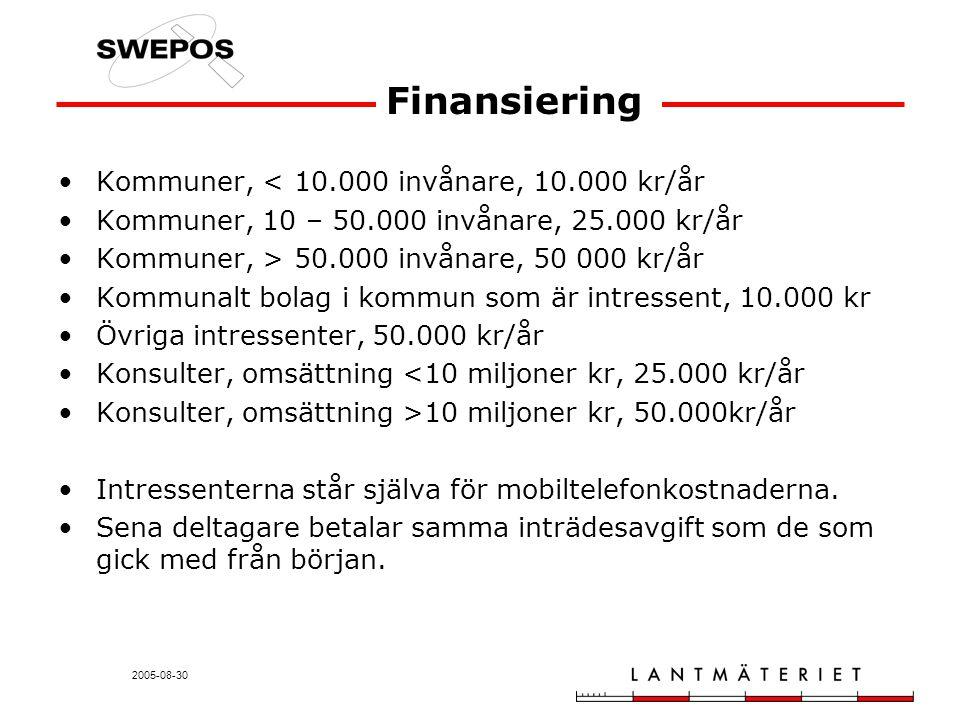 2005-08-30 Finansiering Kommuner, < 10.000 invånare, 10.000 kr/år Kommuner, 10 – 50.000 invånare, 25.000 kr/år Kommuner, > 50.000 invånare, 50 000 kr/år Kommunalt bolag i kommun som är intressent, 10.000 kr Övriga intressenter, 50.000 kr/år Konsulter, omsättning <10 miljoner kr, 25.000 kr/år Konsulter, omsättning >10 miljoner kr, 50.000kr/år Intressenterna står själva för mobiltelefonkostnaderna.