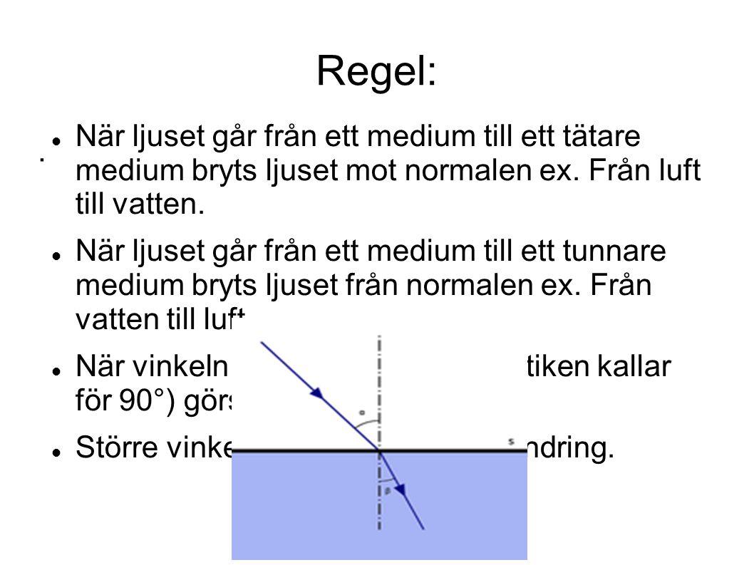 Regel:. När ljuset går från ett medium till ett tätare medium bryts ljuset mot normalen ex. Från luft till vatten. När ljuset går från ett medium till