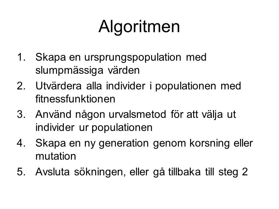 Ett exempel: TSP Travelling Salesman-problemet Hitta kortaste vägen mellan städer Svårt att lösa med många städer Exemplet har 8.