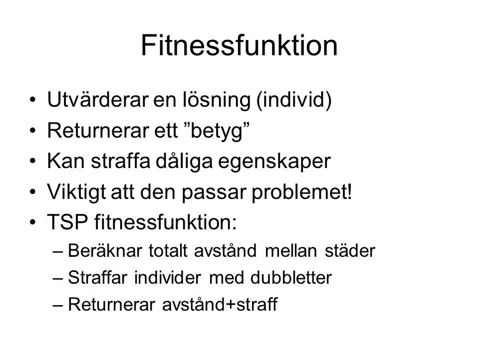 Fitnessfunktion Utvärderar en lösning (individ) Returnerar ett betyg Kan straffa dåliga egenskaper Viktigt att den passar problemet.