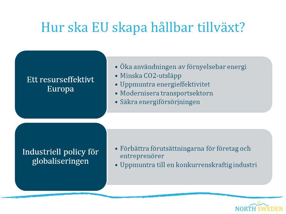 Öka användningen av förnyelsebar energi Minska CO2-utsläpp Uppmuntra energieffektivitet Modernisera transportsektorn Säkra energiförsörjningen Ett resurseffektivt Europa Förbättra förutsättningarna för företag och entreprenörer Uppmuntra till en konkurrenskraftig industri Industriell policy för globaliseringen Hur ska EU skapa hållbar tillväxt