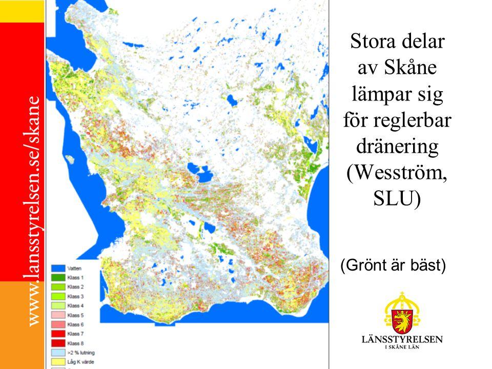 Stora delar av Skåne lämpar sig för reglerbar dränering (Wesström, SLU) (Grönt är bäst)