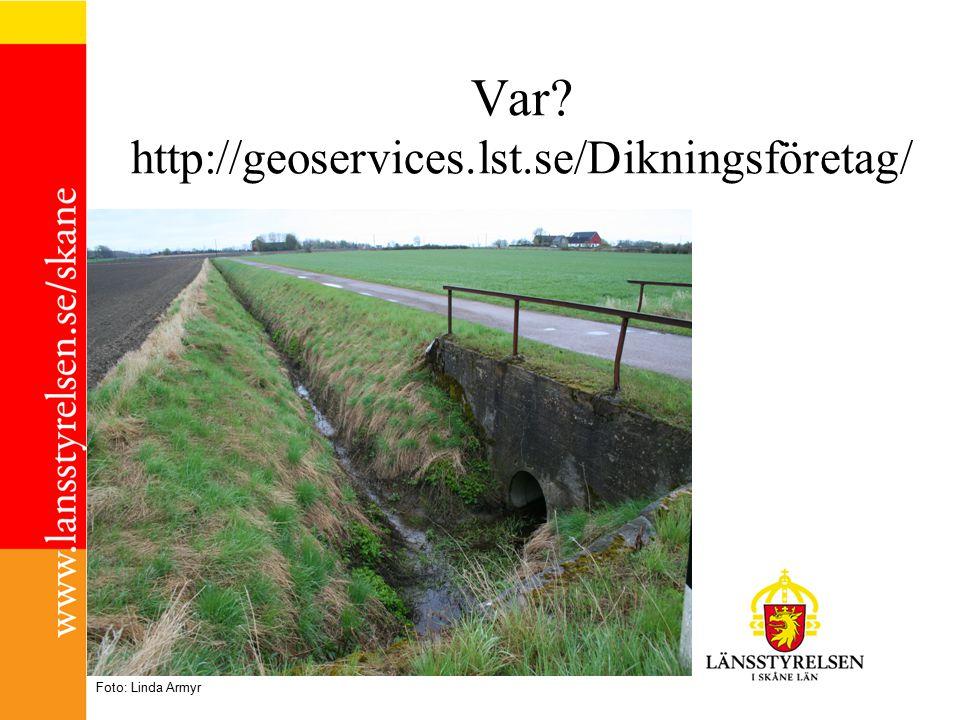 Var? http://geoservices.lst.se/Dikningsföretag/ Foto: Linda Armyr