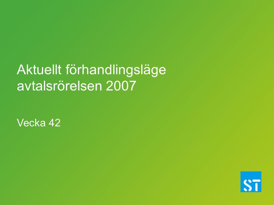 Aktuellt förhandlingsläge avtalsrörelsen 2007 Vecka 42
