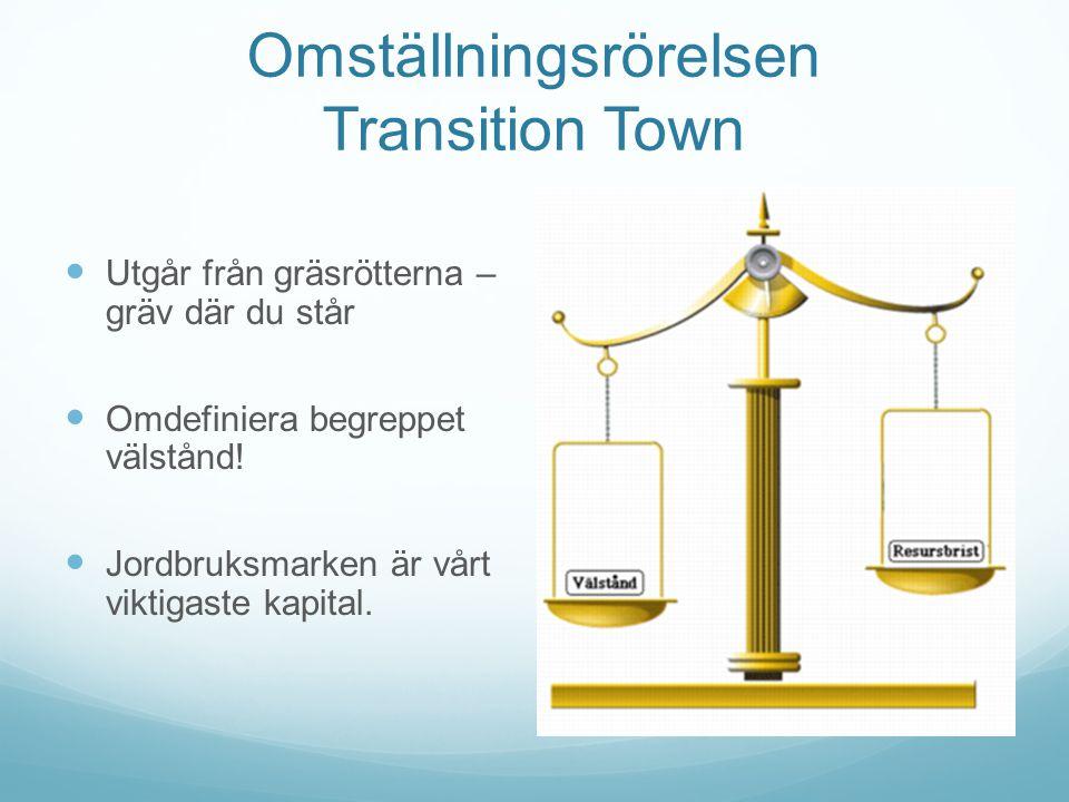 Omställningsrörelsen Transition Town Utgår från gräsrötterna – gräv där du står Omdefiniera begreppet välstånd.