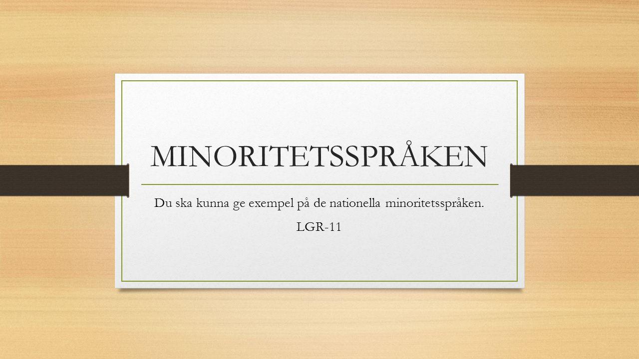MINORITETSSPRÅKEN Du ska kunna ge exempel på de nationella minoritetsspråken. LGR-11