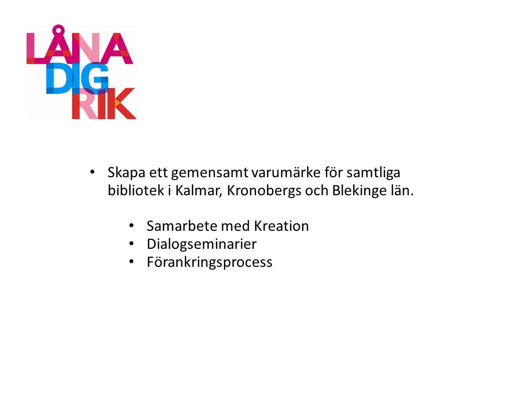 Skapa ett gemensamt varumärke för samtliga bibliotek i Kalmar, Kronobergs och Blekinge län.