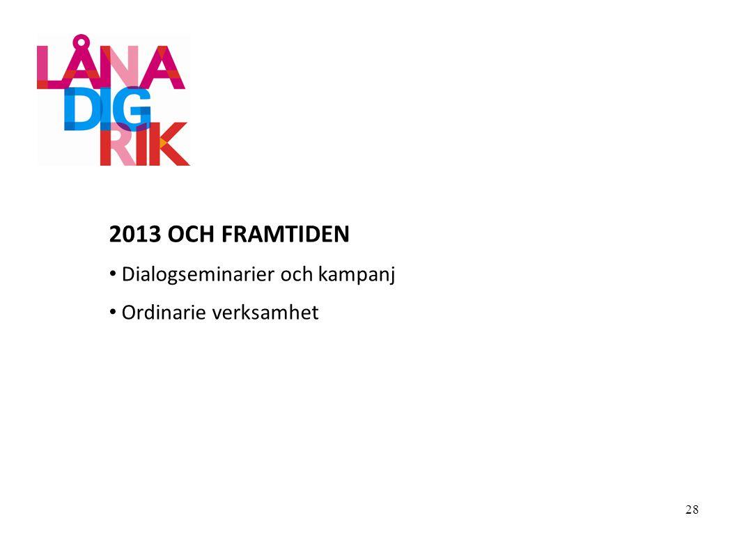 2013 OCH FRAMTIDEN Dialogseminarier och kampanj Ordinarie verksamhet 28