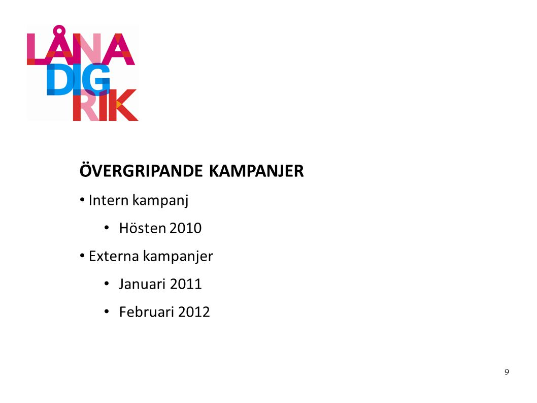 ÖVERGRIPANDE KAMPANJER Intern kampanj Hösten 2010 Externa kampanjer Januari 2011 Februari 2012 9