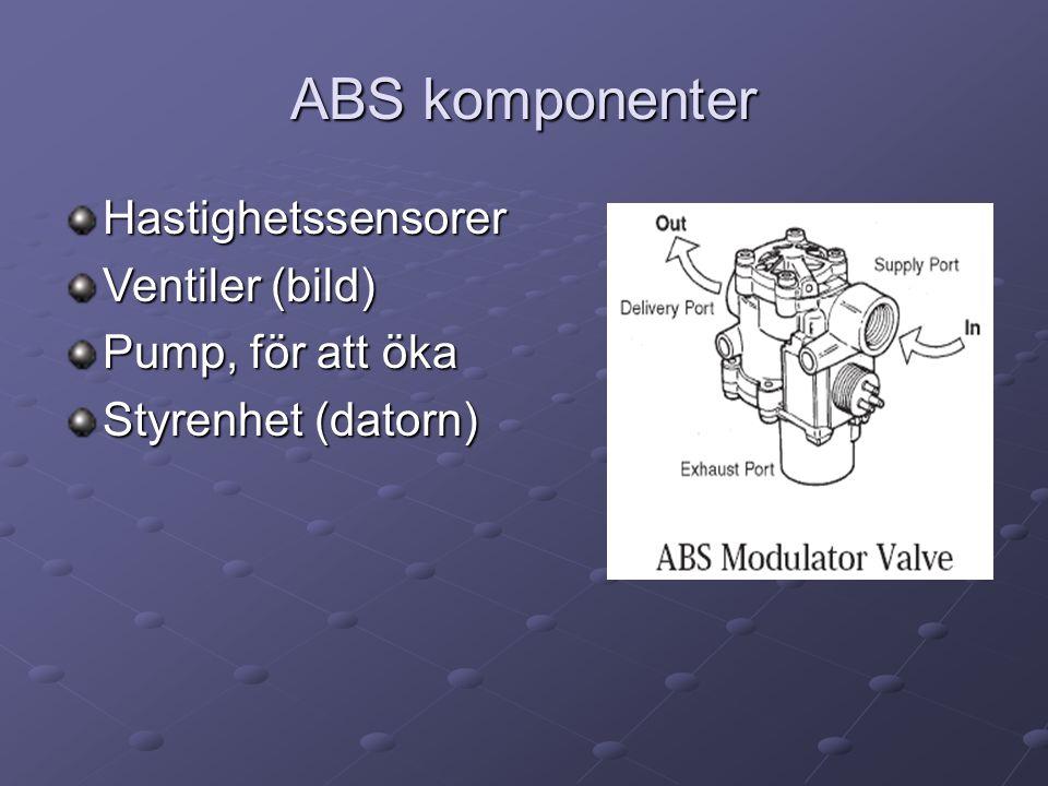 ABS komponenter Hastighetssensorer Ventiler (bild) Pump, för att öka Styrenhet (datorn)